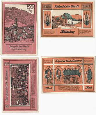 Hallenberg - 50Pfg and 1Mark Notgeld issued by Hallenberg in 1921