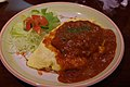 Hamburg and omelet with rice (6226144008).jpg