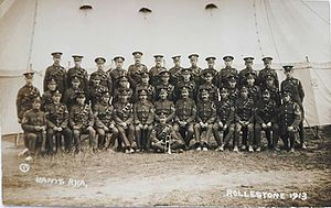 Hampshire Royal Horse Artillery - Group of the Hampshire Royal Horse Artillery, at Rolleston Camp, 1913. Taken from a postcard by A F Marett, Shrewton