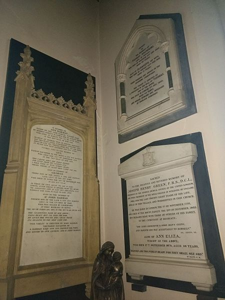 File:Harman Green Browning plaques St Mary, Monken Hadley (2).jpg
