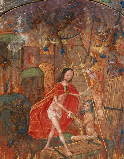 Christ leads Adam by the hand, depicted in the Vaux Passional, c. 1504 Harrowing of hell Christ leads Adam by the hand. On scroll in border, the motto 'Entre tenir Dieu le viuelle' (f. 125) Cropped.jpg