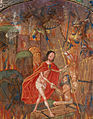 Harrowing of hell Christ leads Adam by the hand. On scroll in border, the motto 'Entre tenir Dieu le viuelle' (f. 125) Cropped.jpg