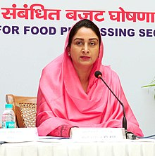Harsimrat Kaur Badal addressing the press conference on the steps taken to attract investments in the food processing sector and the new announcement made for the food processing sector in the budget for the financial year.jpg