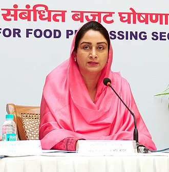 Harsimrat Kaur Badal - Image: Harsimrat Kaur Badal addressing the press conference on the steps taken to attract investments in the food processing sector and the new announcement made for the food processing sector in the budget for the financial year