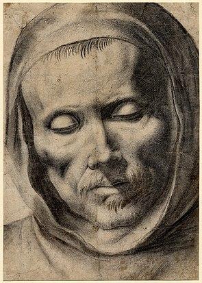 Head of a monk, 1625-64, Francisco de Zurbar%C3%A1n. Drawing, 277 x 196 mm. British Museum