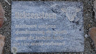Lier, Belgium - stone on the market place to show where the last witch was burned in Lier