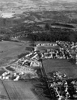 Bussage - Helicopter outing over the village of Bussage looking towards Frithwood from the north c1991.