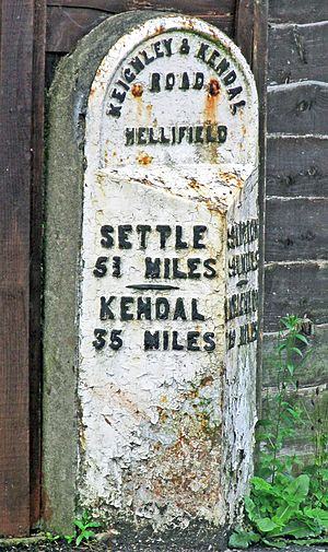 Hellifield - Old milestone near the village centre