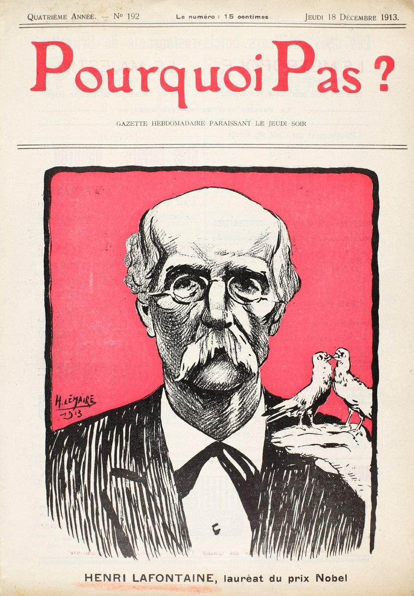 Henri La Fontaine reçoit le prix Nobel de la paix