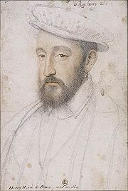 """Henry II of France, by François Clouet, c. 1553. The astrologer Luca Gaurico warned Henry in 1552 to take particular care around his fortieth year to """"avoid all single combat in an enclosed space""""."""