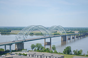 Aerial view of the Hernando de Soto Bridge