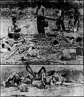 Herrin massacre - The upper photograph shows the remains of a supply house that was dynamited and burned, while the lower shows the remains of an oil house, near which two of the striking workers were shot and killed.