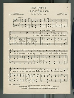 """Hey, Rube! - 1891 sheet music for """"Hey Rube!! or, A Day at the Circus"""""""