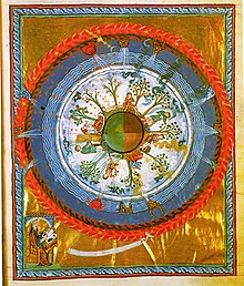 Flat earth wikipedia 12th century depiction of a spherical earth with the four seasons book liber divinorum operum by hildegard of bingen publicscrutiny Choice Image