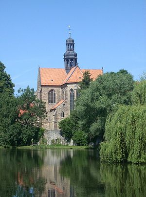 Marienrode Priory - Church and fishpond.