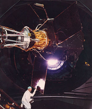 Hipparcos - Hipparcos satellite in the Large Solar Simulator, ESTEC, February 1988