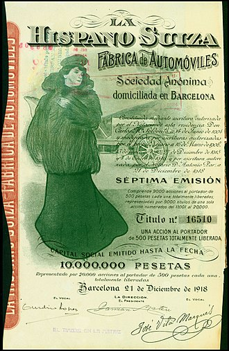 Hispano-Suiza - Share of the Hispano-Suiza Fabrica de Automoviles SA, issued December 21, 1918