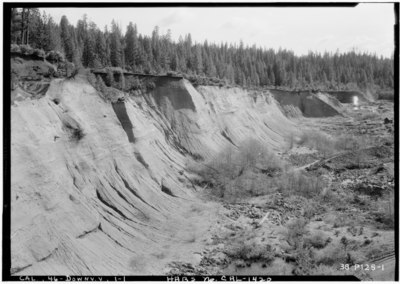 Historic American Buildings Survey Roger Sturtevant, Photographer Mar. 29, 1934 GENERAL VIEW - Hydraulic Mine, Downieville, Sierra County, CA HABS CAL,46-DOWNV.V,1-1.tif
