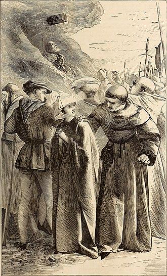 John Oldcastle - Illustration of the burning of John Oldcastle, 1870