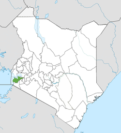Location of Homa Bay County (Green)