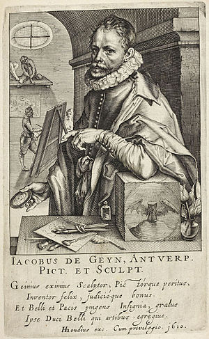 "Jacob de Gheyn II - Portrait of ""Jacobus de Geyn, Antwerp"", by Hendrik Hondius I, from his ""Pictorum"", 1610"