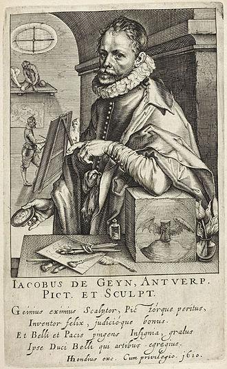 "Jacob de Gheyn II - Portrait of ""Jacobus de Geyn, Antwerp"", by Hendrik Hondius I, from his ""Pictorum"", 1610"