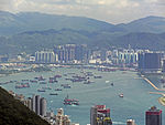 Hong Kong Harbor off Kowloon, from Victoria Gap.jpg