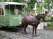 Horse drawn trams in Calcutta (now Kolkata), India - Life size model at City Centre arcade