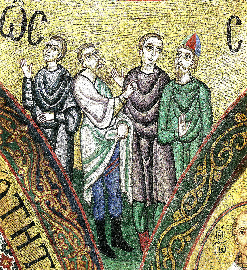 Hosios Loukas Katholikon (sanctuary vault) - Pentecost - detail 01 Glossai.jpg