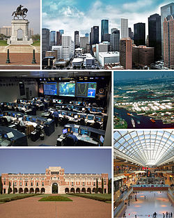 Clockwise from top: Sam Houston monument, Downtown Houston, Houston Ship Channel, The Galleria, Rice University, and the Christopher C. Kraft Jr. Mission Control Center.