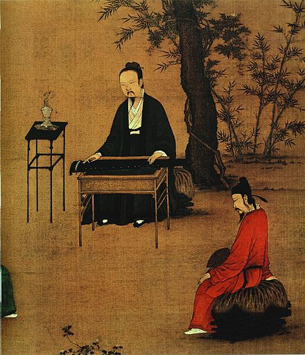 Painting of a bearded Chinese man playing the zither, with another man sitting on a stone listening to the music