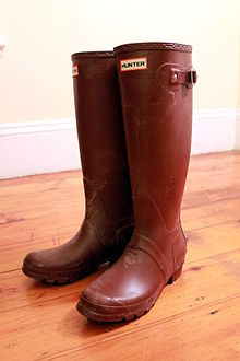 3449162d9c A pair of Hunter 'Original Tall' Wellington boots.