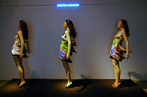 Hussein Chalayan - Hussein Chalayan dress designs on display at a 2009 exhibit.