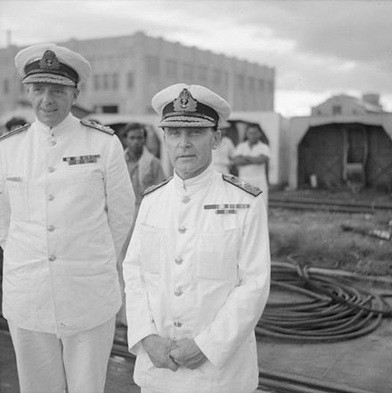 Admiral Sir Tom Phillips (right), commander of Force Z, and his deputy, Rear Admiral Arthur Palliser, on the quayside at Singapore naval base, 2 December 1941. IWM FE 487 Admirals Phillips and Palliser.jpg