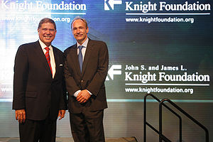 Medill School of Journalism - Alberto Ibargüen, president of the Knight Foundation, with Tim Berners-Lee, pioneer of the World Wide Web