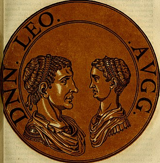 Leo II (emperor) - An illustration of Leo II (right) with his grandfather Leo I (left), based on coins bearing their image.