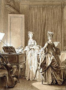 Saint-Preux, au clavecin, baise la main de Claire, qui se pâme. Julie, qui chante avec elle, ne les voit pas.