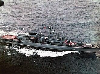 Krivak-class frigate - Soviet KGB Border Troops Nerei class-frigate Imeni 70-Letiya Pogranichnykh Voisk (renamed Anadyr in Russian Coast Guard service) in 1988. KGB ensign is risen.