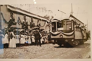 Streetcars in Mexico City - Opening ceremony for the city's first electric streetcar line