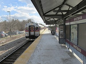 Inbound train, Whitman MBTA station, Whitman MA.jpg