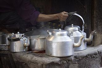 Indian tea culture - Masala Chai kettles of a street vendor in Varanasi, India.