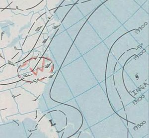 1969 Atlantic hurricane season - Weather map featuring Hurricane Inga on October 3