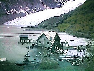 Insomnia (2002 film) - Set construction of Finch's lake house and dock on the fictional Lake Kgun. Bear Glacier Provincial Park, British Columbia; June, 2001.