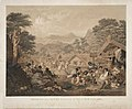 """Interior of a native village or """"pa"""" in New Zealand, situated near the Town of Petre, at Wanganui, J.A. Gilfillan, pinxt., E. Walker, lithr. by Day & Son, 1850.jpg"""
