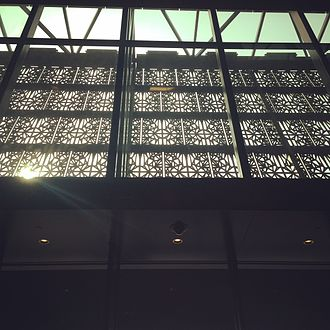 National Museum of African American History and Culture - The facade's 'scrim' viewed from the entrance lobby.