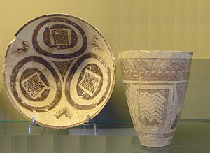 Godin Tepe - Goblet and cup, Iran, from Susa, 4th millennium BC - Ubaid period; goblet height c. 12 cm; Sèvres – Cité de la céramique, France