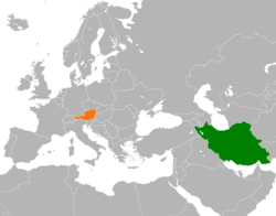 Map indicating locations of Iran and Austria
