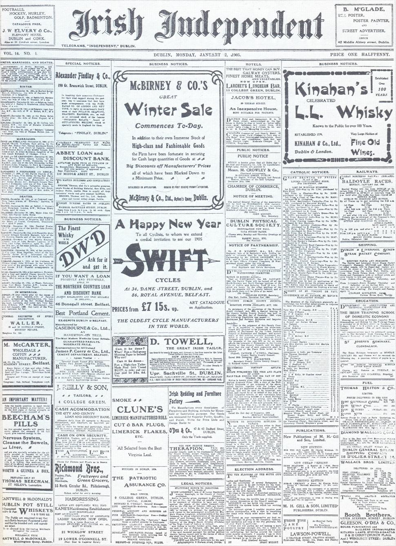 Irish Independent First Issue 1905 01 02