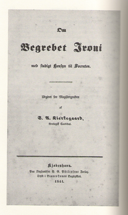 Cover page to Søren Kierkegaard 's university thesis