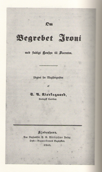 Thesis - Cover page to Søren Kierkegaard's university thesis (1841).